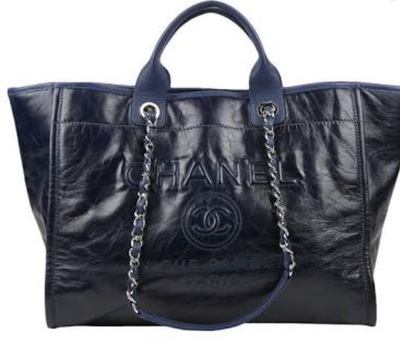Buy: Deauville Leather Blue Silver Chain Tote