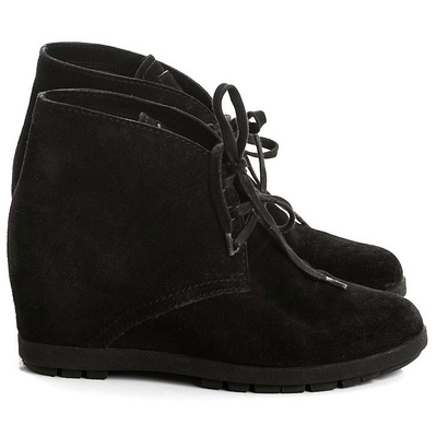 Buy: Black Suede Wedge Lace Up Bootie Size 7-7.5