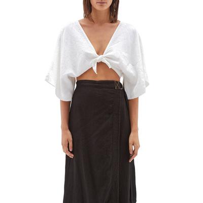 Rent: Italian Linen Tie Front Top Size 4-8