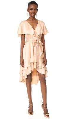 Buy: Peach Silk Wrap Dress Petite Size 6 BNWT