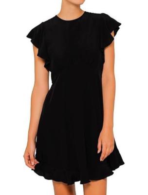 Rent: Black Silk Frill Mini Dress Size 10