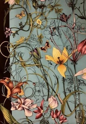 Buy: Printed Flora Foulard Scarf approx 90mm x 90mm