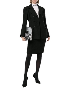 Buy: Black Double Breasted Skirt Suit Silk Trim Size 8-10