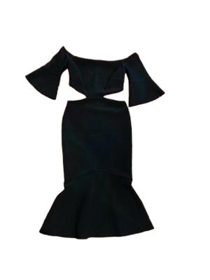 Buy: Black Off Shoulder Bell Sleeve Dress Size 8