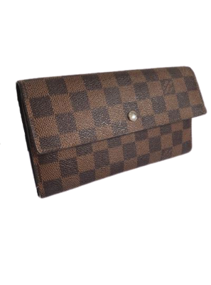 Buy: Brown Sarah Damier Ebene Canvas Wallet
