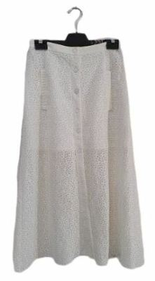 Buy: White Lace pattern midi skirt with Pockets Size 8