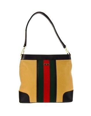 Buy: Brown Web Canvas Leather Shoulder Bag