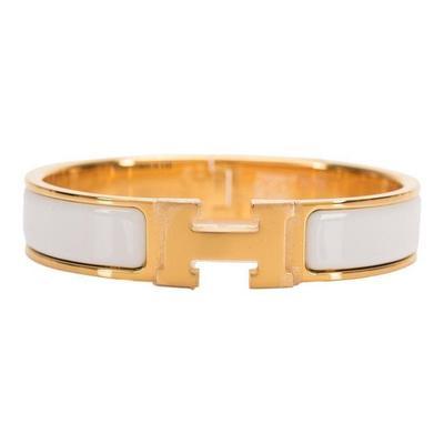Buy: MERMESWhite Clic Clac H Narrow Enamel Bracelet