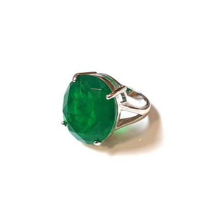 Buy: Emerald Ring in White Gold plated Silver Size Medium