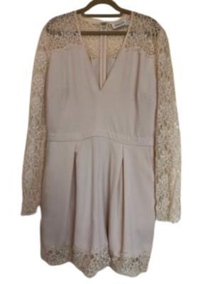 Buy: Cream Lace Trim Long Sleeve Playsuit Size 10