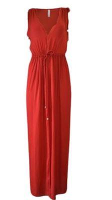 Buy: Red v neck silk dress Size 6