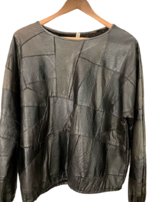 Buy: Black leather patchwork 'sweater' style top Size 12