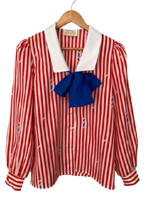 Buy: 70s American hostess-style pussy bow blouse Size 10