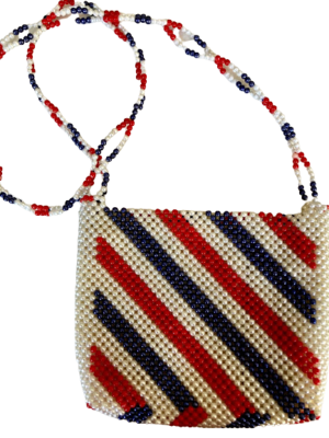 Buy: Thai red white and blue beaded bag