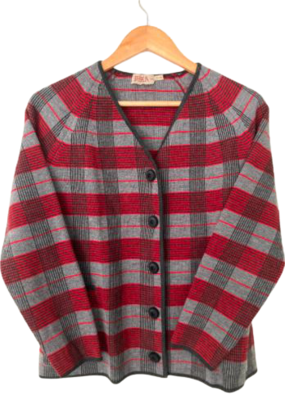 Buy: 60s red and grey checked pure wool suit Size 8