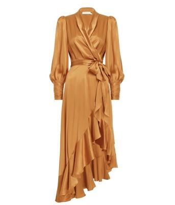 Buy: Silk Wrap Midi Dress - Mango Size 6