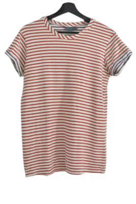 Buy: Woven heavy weight T-shirt red and white stripe Size 10