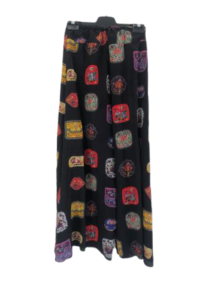 Buy: Patterned silk wide pants with leg slit and stretch waist Size 10