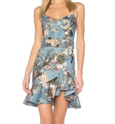 Rent: Arielle Blue floral Mini dress Size 6