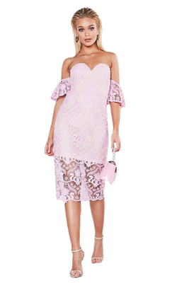 Buy: Premium flared Sleeve Lace Midi Dress Size 6