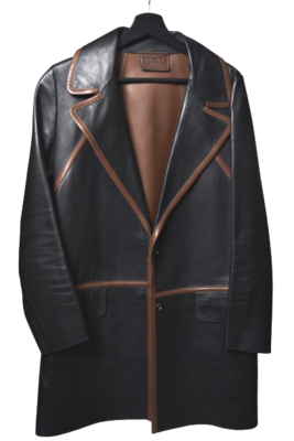 Buy: Structured Brown and Black Leather Jacket Size 6