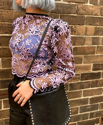 Rent: 80s lilac lace cropped top Size 6-10