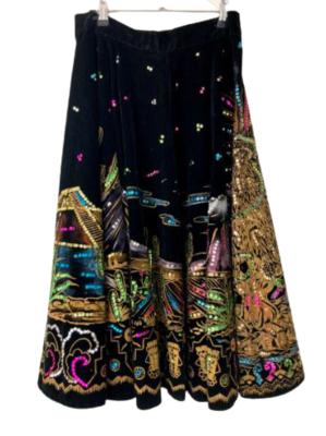 Rent: 50s sequinned velvet circle skirt Size 10-12