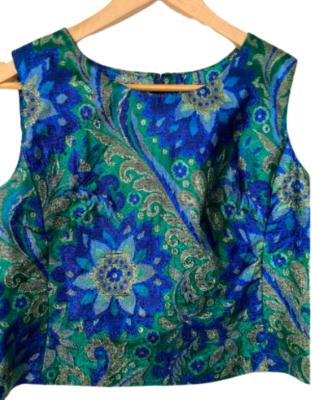 Rent: 60s blue and green metallic brocade top Size 6-10
