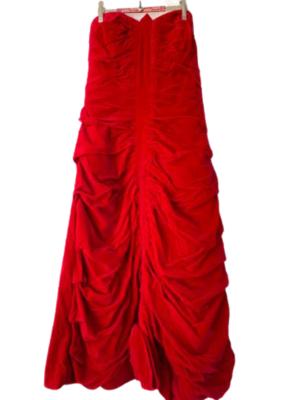 Rent: 50s strapless red velvet ruched dress Size 8