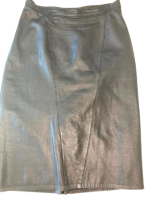 Buy: 80s leather knee-length pencil skirt Size 12