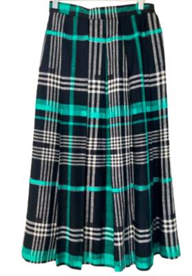 Buy: 80s tartan linen midi skirt Size 8