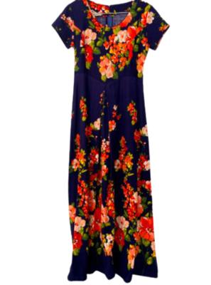 Rent: 70s barkcloth floral maxi Size 10-12