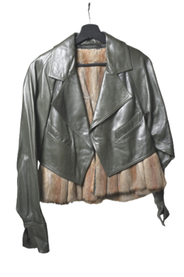 Buy: Leather and Fur Jacket Size 8