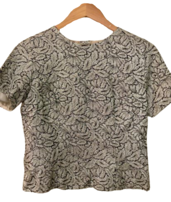 Buy: 60s silver brocade top Size 8-10