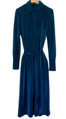 Rent: 70s teal lurex maxi dress Size 8-12