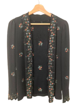 Buy: 30s/40s crepe embroidered cardigan Size 6-8