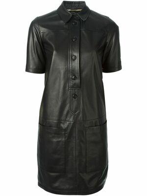 Buy: Black Leather Shirt Dress Size 6