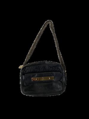 Buy: Black Croc Embossed Leather Bag