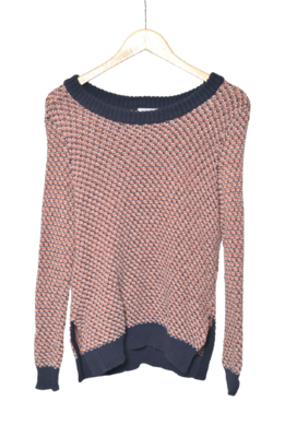 Buy: Knitted Red Navy and White Jumper Size 8