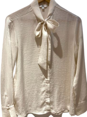 Buy: Silky cream pussy bow blouse Size 8-10