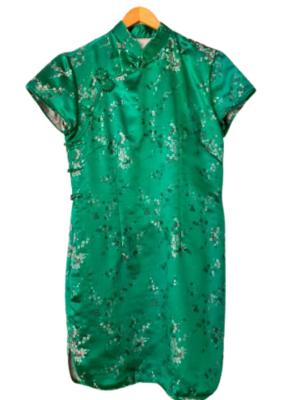 Rent: Green silk cheongsam style dress Size 12-14