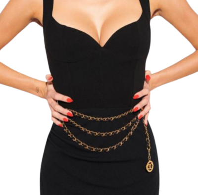 Rent: Triple chain belt (leather and 24c gold)