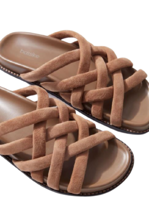 Buy: Suede woven padded slide in tan sandals Size 9.5