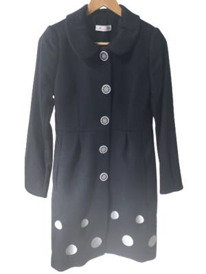 Buy: Spotted black long coat Size 8