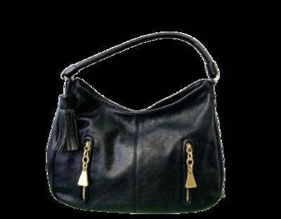 Buy: Cherry Hobo Black Leather Shoulder Bag