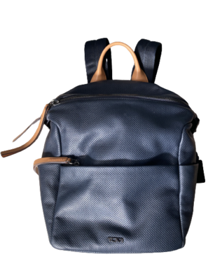 Buy: Blue Leather Travel Backpack