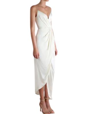 Buy: Ivory Silk Plunge Drape Dress Size 6