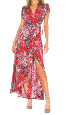 Buy: Red floral wrap dress Size 6-8