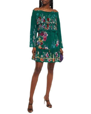Buy: Off-the-shoulder tiered printed silk-georgette mini dress Size