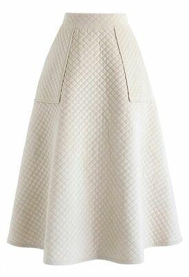 Buy: Pockets Quilted Velvet A-line Midi skirt in cream BNWT  Size 10